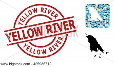 Climate Collage Map Of Koh Chang, And Rubber Red Round Yellow River Seal. Geographic Vector Collage