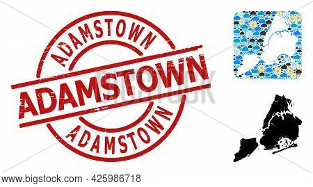 Weather Collage Map Of New York City, And Distress Red Round Adamstown Stamp Seal. Geographic Vector
