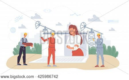 Vector Cartoon Flat Industrial Worker Characters At Oil Production Work.boss On Computer Screen And