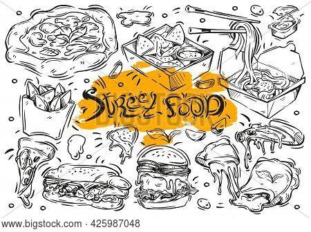 Hand Drawn Vector Line Illustration On White Background. Doodle Collection Street Food Menu: Burger,