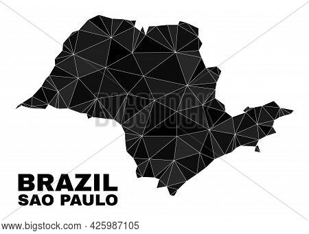 Low-poly Sao Paulo State Map. Polygonal Sao Paulo State Map Vector Filled Of Chaotic Triangles. Tria