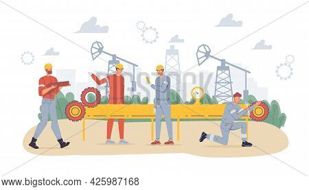 Vector Cartoon Flat Industrial Worker Characters At Petroleum Production Work.oil Workers Building N