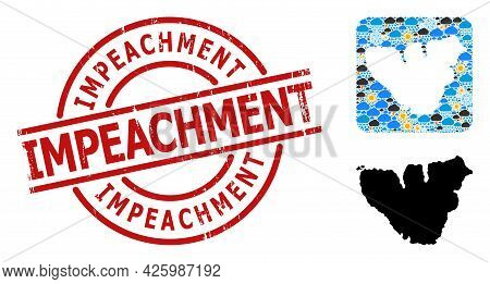 Climate Pattern Map Of Moorea Island, And Grunge Red Round Impeachment Seal. Geographic Vector Compo