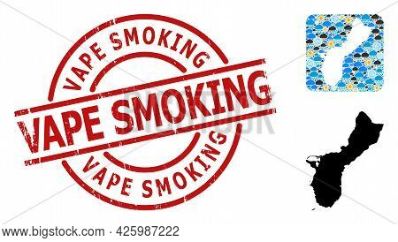 Climate Collage Map Of Guam Island, And Distress Red Round Vape Smoking Stamp. Geographic Vector Col
