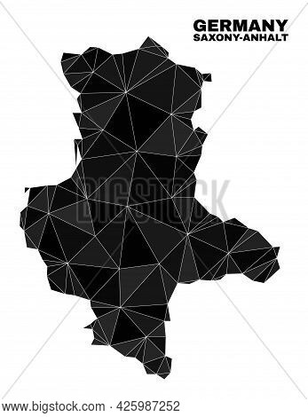 Low-poly Saxony-anhalt Land Map. Polygonal Saxony-anhalt Land Map Vector Is Designed From Chaotic Tr