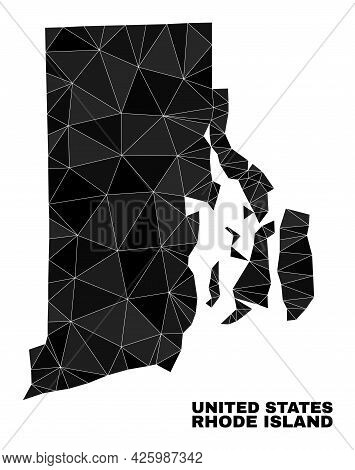 Low-poly Rhode Island State Map. Polygonal Rhode Island State Map Vector Is Filled Of Random Triangl