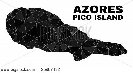 Low-poly Pico Island Map. Polygonal Pico Island Map Vector Constructed Of Random Triangles. Triangul