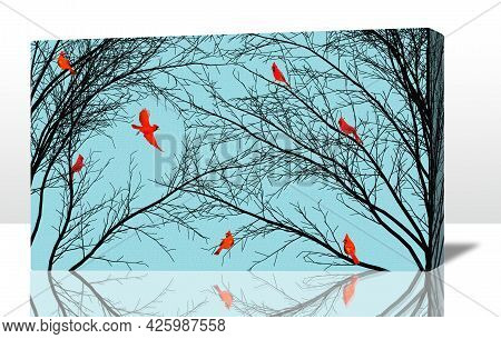 Bright Red Cardinal Birds Are Seen On Black Tree Branches In Winter And Are On A Stretched Canvas 3-