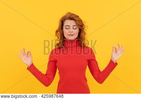 Young Redhead Woman Relax Meditating With Closed Eyes, Yoga Meditation