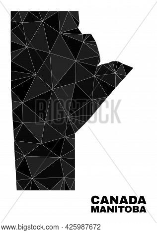 Low-poly Manitoba Province Map. Polygonal Manitoba Province Map Vector Is Filled With Random Triangl