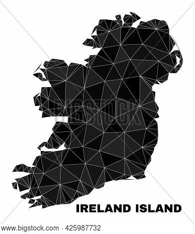 Lowpoly Ireland Island Map. Polygonal Ireland Island Map Vector Constructed With Randomized Triangle