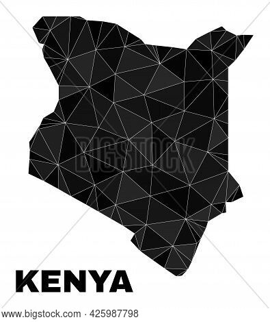 Low-poly Kenya Map. Polygonal Kenya Map Vector Is Constructed From Random Triangles. Triangulated Ke