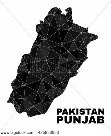 Lowpoly Punjab Province Map. Polygonal Punjab Province Map Vector Constructed With Random Triangles.