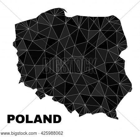 Lowpoly Poland Map. Polygonal Poland Map Vector Is Combined From Scattered Triangles. Triangulated P