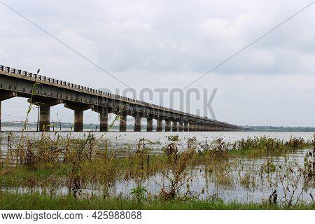 View Of The Krishna River Bridge Near Kolhar (vijayapura).
