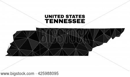 Lowpoly Tennessee State Map. Polygonal Tennessee State Map Vector Filled With Chaotic Triangles. Tri