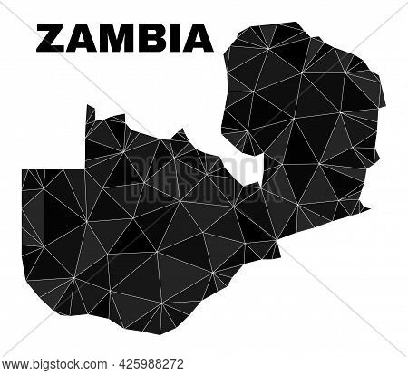 Low-poly Zambia Map. Polygonal Zambia Map Vector Designed Of Chaotic Triangles. Triangulated Zambia
