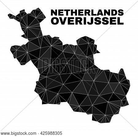 Lowpoly Overijssel Province Map. Polygonal Overijssel Province Map Vector Is Combined With Scattered