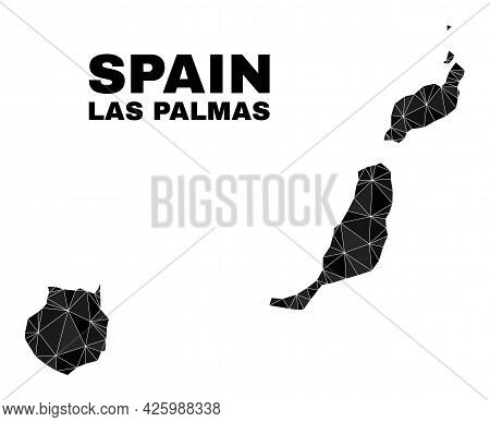 Low-poly Las Palmas Province Map. Polygonal Las Palmas Province Map Vector Filled With Chaotic Trian