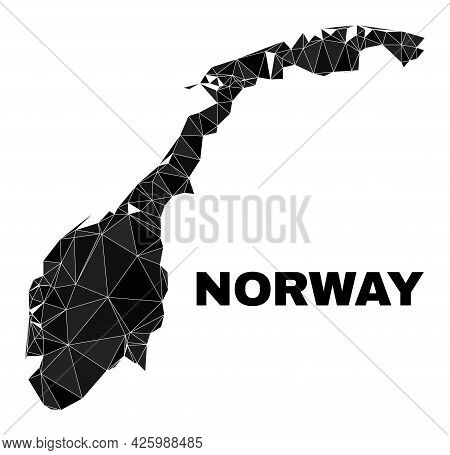 Lowpoly Norway Map. Polygonal Norway Map Vector Designed With Chaotic Triangles. Triangulated Norway