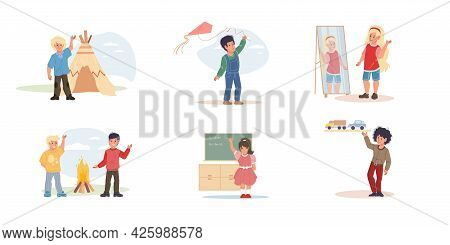 Set Of Vector Cartoon Flat Kid Characters Happily Doing Different Activities, Play And Learn Togethe