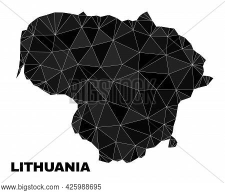 Lowpoly Lithuania Map. Polygonal Lithuania Map Vector Designed Of Random Triangles. Triangulated Lit