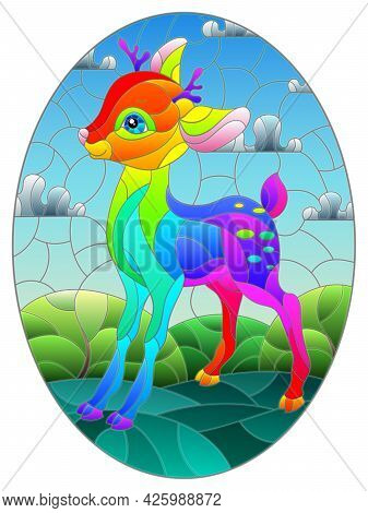 Illustration In Stained Glass Style With A Rainbow Fawn On The Background Of Green Meadows, Mountain
