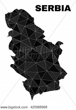 Lowpoly Serbia Map. Polygonal Serbia Map Vector Designed From Random Triangles. Triangulated Serbia