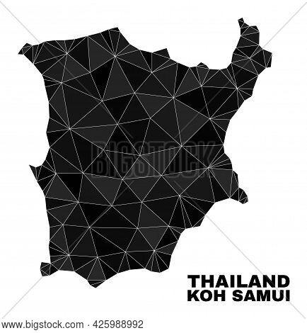 Lowpoly Koh Samui Map. Polygonal Koh Samui Map Vector Combined From Random Triangles. Triangulated K