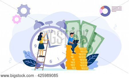 Times Is Money Concept Save Time Money Saving Financial Investments In Stock Market Future Income Gr