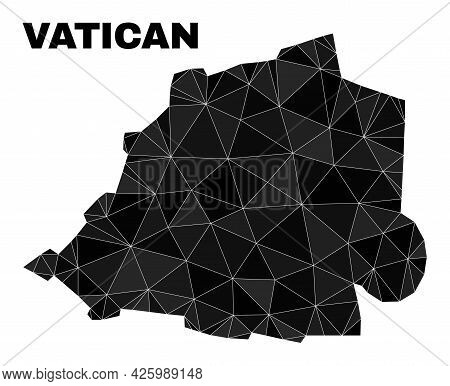 Low-poly Vatican Map. Polygonal Vatican Map Vector Is Combined With Randomized Triangles. Triangulat