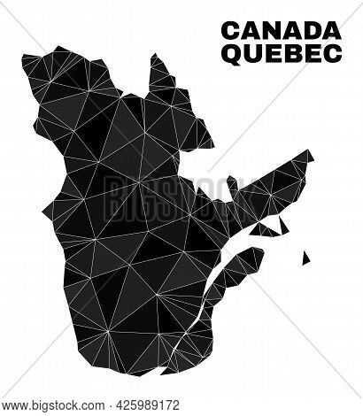 Low-poly Quebec Province Map. Polygonal Quebec Province Map Vector Is Constructed With Scattered Tri