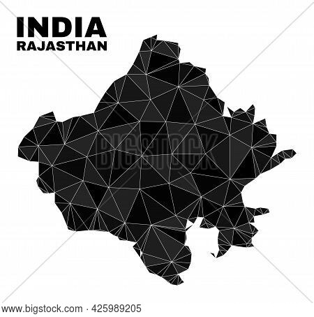 Lowpoly Rajasthan State Map. Polygonal Rajasthan State Map Vector Filled Of Scattered Triangles. Tri
