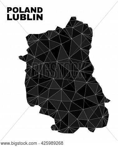 Low-poly Lublin Voivodeship Map. Polygonal Lublin Voivodeship Map Vector Designed With Random Triang