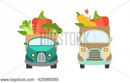Cute Cars Delivering Vegetables, Small Trucks Shipping Zucchini, Broccoli, Pepper Fresh Ripe Vegetab