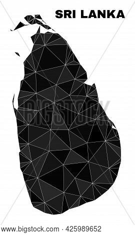 Lowpoly Sri Lanka Map. Polygonal Sri Lanka Map Vector Is Filled From Scattered Triangles. Triangulat