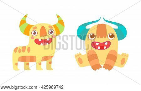 Friendly Little Monsters Set, Cute Funny Monster Characters Cartoon Vector Illustration