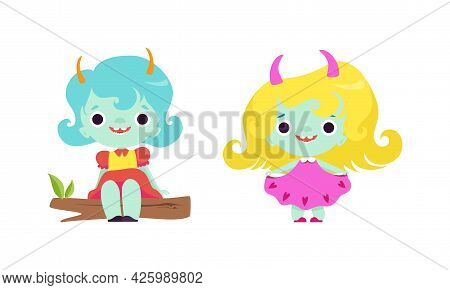 Cute Troll Characters With Different Hair Color Set, Funny Tiny Girls Fantasy Creatures Cartoon Vect