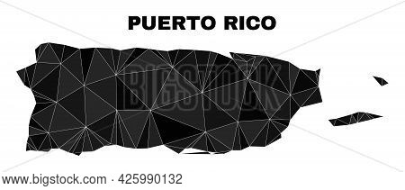 Low-poly Puerto Rico Map. Polygonal Puerto Rico Map Vector Constructed With Randomized Triangles. Tr