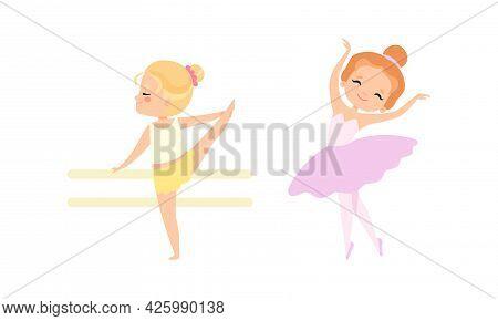 Lovely Little Ballerinas Dancing Set, Cute Little Girls Training At Lesson Cartoon Vector Illustrati