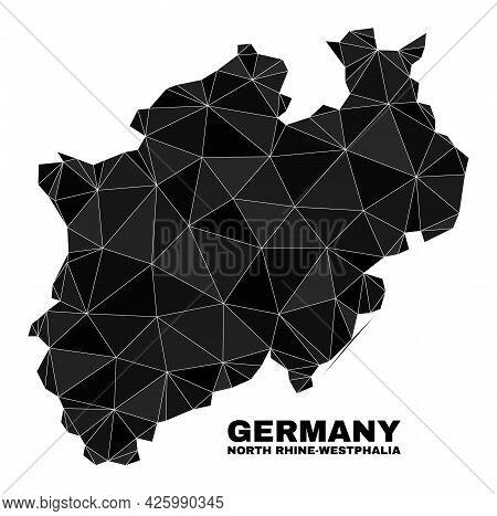 Lowpoly North Rhine-westphalia Land Map. Polygonal North Rhine-westphalia Land Map Vector Constructe