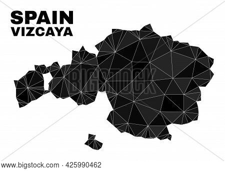 Low-poly Vizcaya Province Map. Polygonal Vizcaya Province Map Vector Combined From Randomized Triang