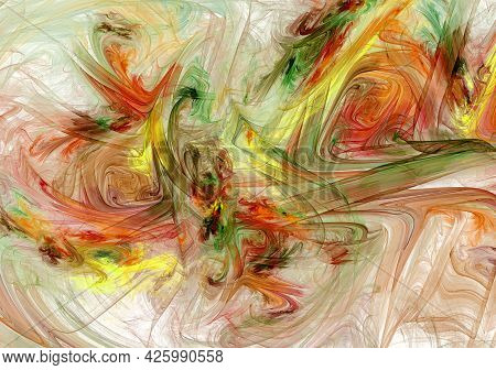 Wide Dynamic Brush Strokes Create A Colorful Abstract Background. Imitation Of A Watercolor Or Oil P