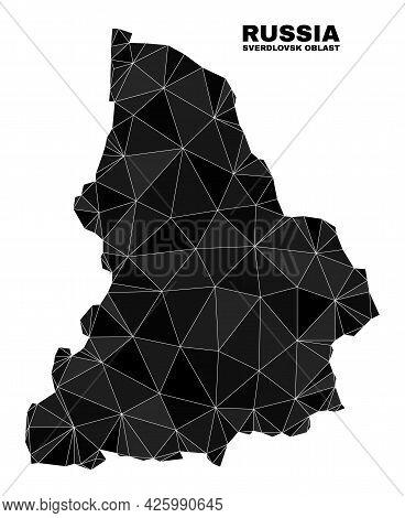 Low-poly Sverdlovsk Region Map. Polygonal Sverdlovsk Region Map Vector Is Combined Of Scattered Tria