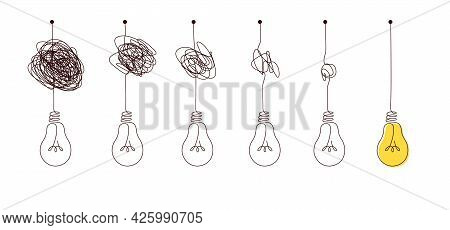 Complex To Simple Way To Create Idea - Messy Clew Symbols With Light Bulb.