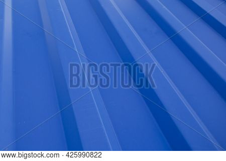 Blue Profiled Flooring.the Material For The Roof. The Material Is Made Of Iron.