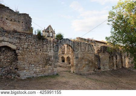 Beautiful Ruins Of The Ancient Convent Of Santa Maria De Rioseco At Sunset. Burgos, Merindades, Spai