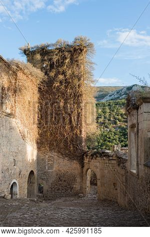 Ancient Ruins With Tower Covered Of Vine Plants At Santa Maria De Rioseco, Burgos, Spain, Europe