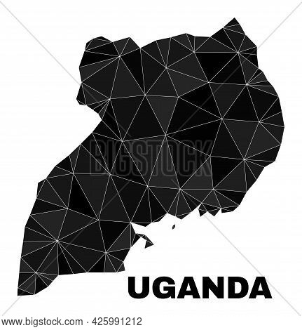 Lowpoly Uganda Map. Polygonal Uganda Map Vector Is Filled Of Chaotic Triangles. Triangulated Uganda