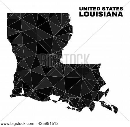 Lowpoly Louisiana State Map. Polygonal Louisiana State Map Vector Filled From Random Triangles. Tria